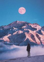 mountain man nature moon sky blue cloud snow photography photo manipulation