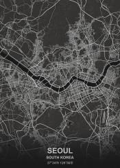 seoul black city map maps plan schematic white