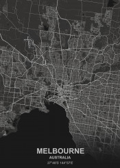 melbourne black city map maps plan schematic white