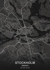 stockholm black city map maps plan schematic white