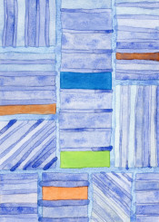 blue pattern fine painting watercolor watercolors geometric geometrical geometry cool grid stripes colors rhythm lovely blues shapes rectangle rectangles simple harmony balance