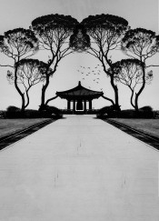 nature harmony mountain minimal ink japan japanese black white monochrome trees greyscale elm oak bell shrine path asia clouds fanfreak