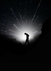 glowing beams stars space male alone minimal detail vintage fanfreak black white monochrome photo collage photograph mountain nature sea