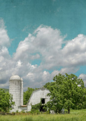 white barn country landscape farmhouse aqua blue green fresh clouds sky summer united states rural countryside trees