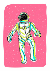 astronaut space outer universe gloves helmet pink stars fantasy pop futuristic gravity