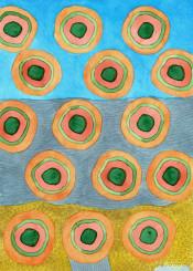 circle circles beach seascape sea ocean pattern fun fine beautiful artwork painting watercolor watercolors grey blue sky sand water orange green rings geometry