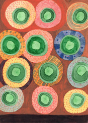 circles circle pattern painting watercolor watercolors fine abstract contemporary shapes patterns green red blue orange playful lovely beautiful