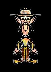cowboy gunslinger urban street wild west hipster brown yellow orange
