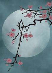 japanese asian oriental blossom cherryblossom minimalist simple style moon spiritual yoga zen meditation chinese vintage retro ritual luna night fullmoon