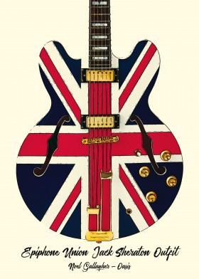 Noel Gallagher Union Flag Guitar Metal Britpop Art