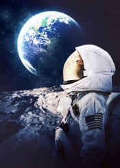astronaut earth far galaxy home moon new planet sun universe world