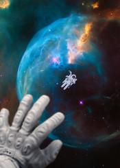 far home space astronaut galaxy universe away earth planet nebula aurora