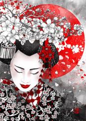 illustration graphite sakura geisha japan asian flowers red black cherry blossom