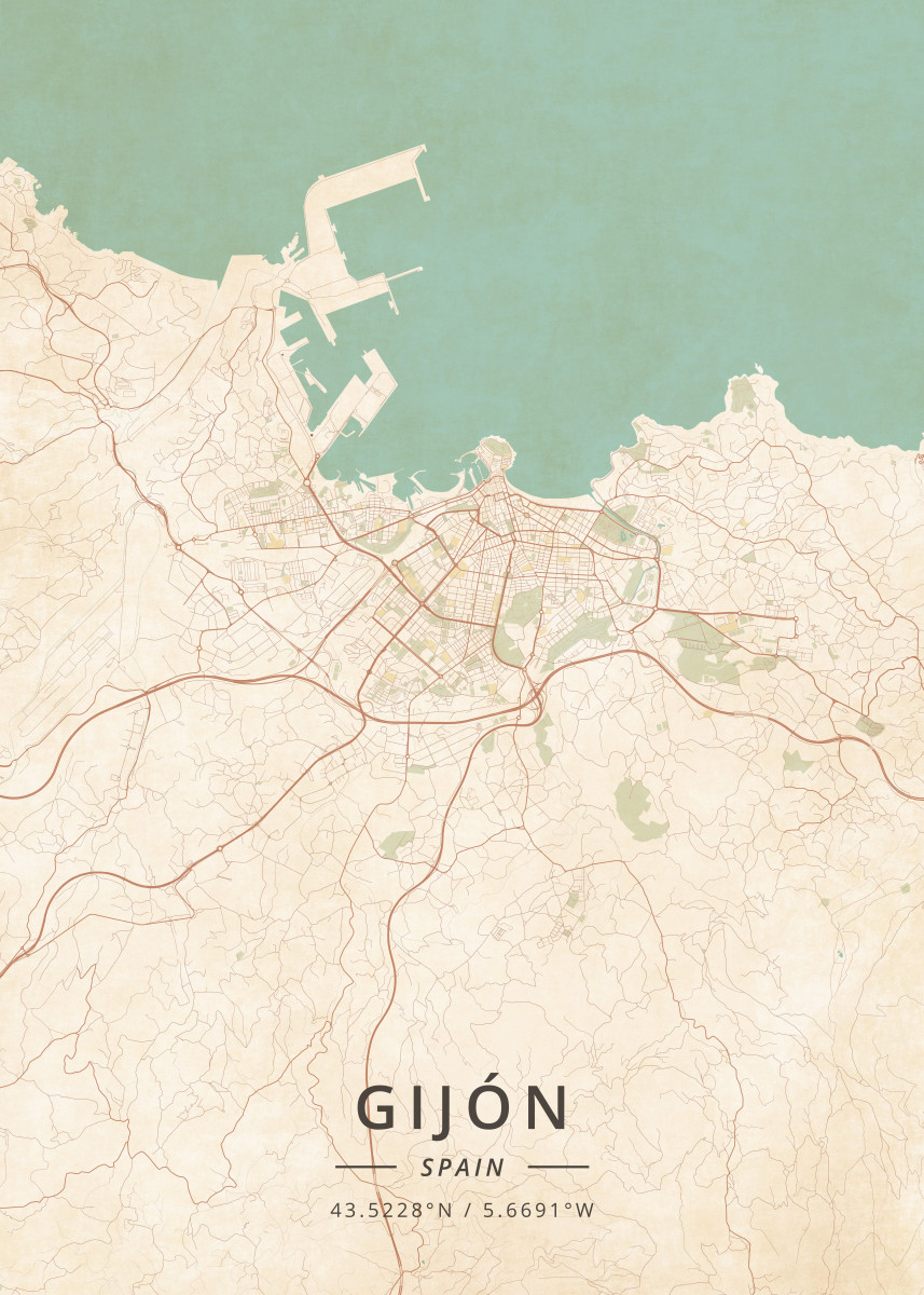 Gijon Spain Map.Gijon Spain By Designermap Art Metal Posters Displate