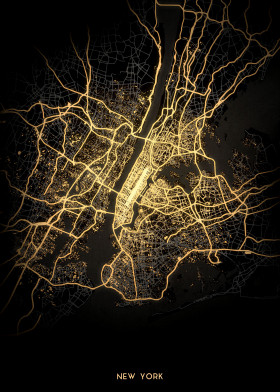 City Lights Map City Light Maps by Retina Creative   metal posters   Displate