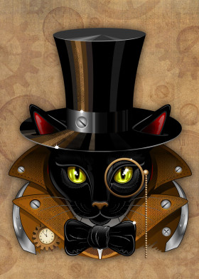 Cat Steampunk vintage face