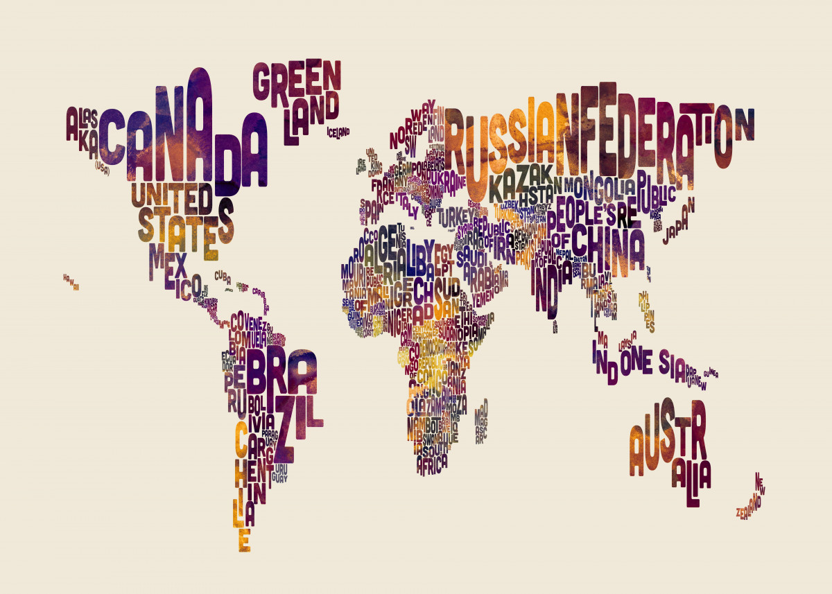 World Map Typography By Michael Tompsett Metal Posters Displate
