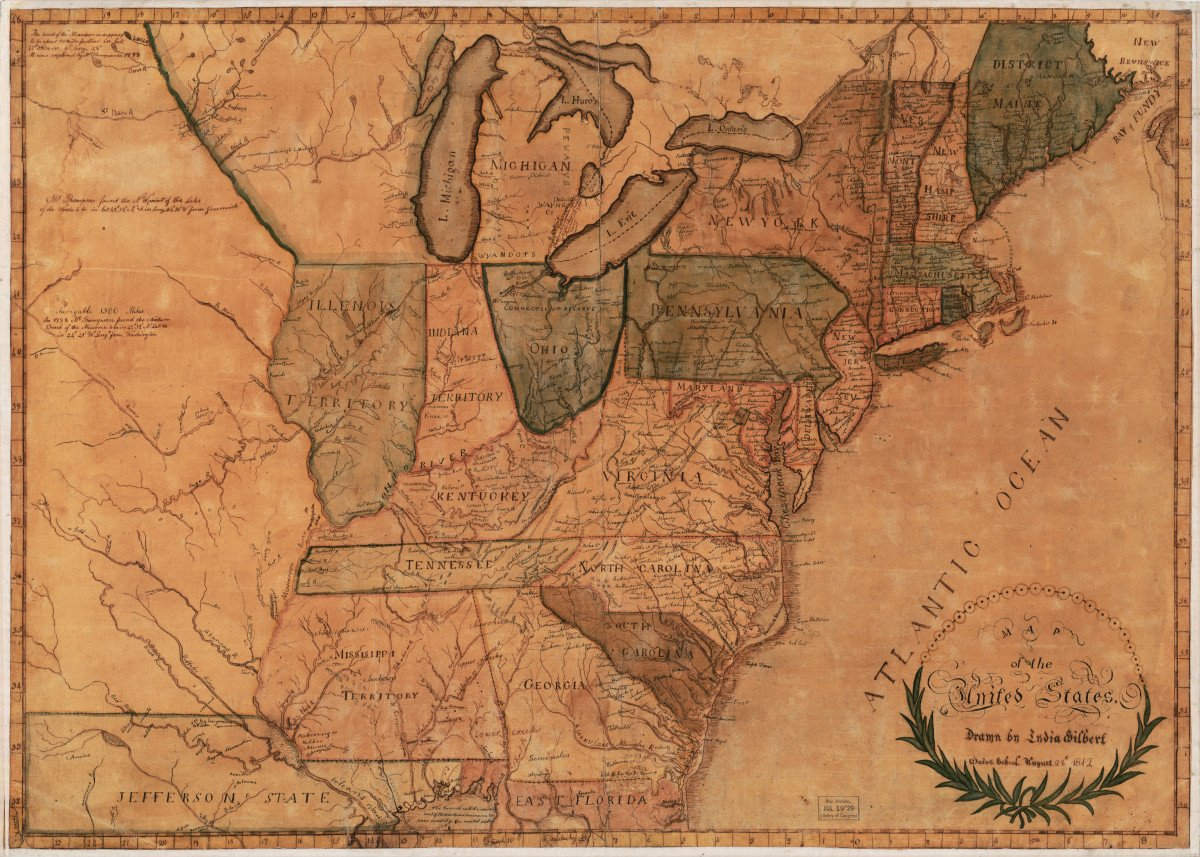United States Map 1812 By Janice M Metal Posters Displate - Us-map-1812