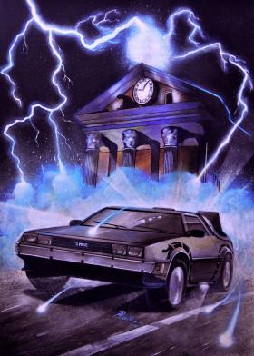 Delorean Clock Tower Metal Poster