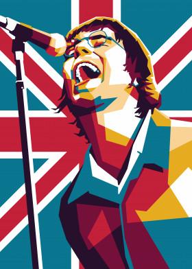 Liam Singing Union Jack Cool Metal Art Poster