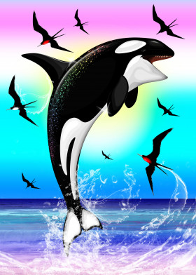 Orca Rainbow Surreal Art