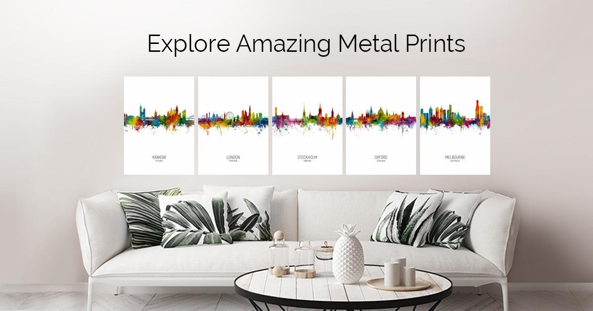 Skyline Portrait Colour by Michael Tompsett | metal posters