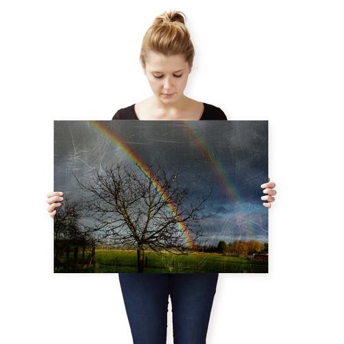 rainbow double rural grunge landscape dark sky clouded Landscape