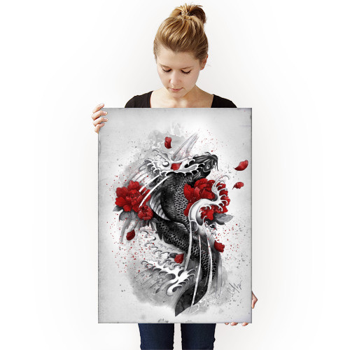 koi black flowers waves courage red Illustration