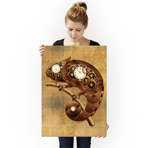 chameleon steampunk vintage copper toy mechanical clocks gears animal technology chains Vintage