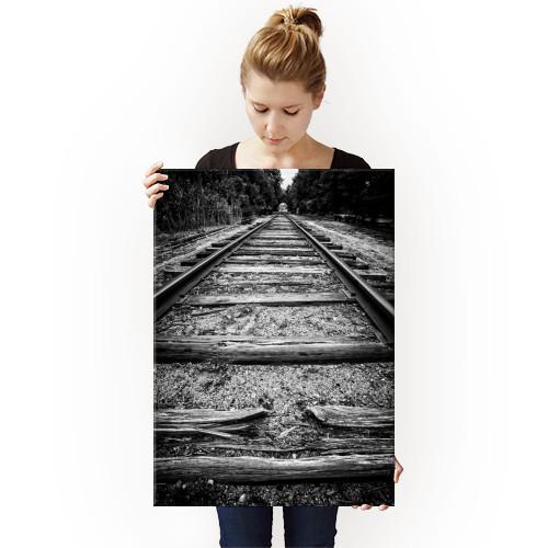 train tracks black white old rail railroad rails track vanishing Black & White