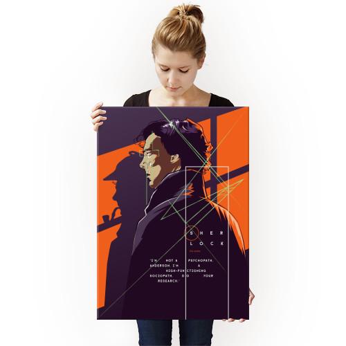 sherlock holmes series bbc orange purple benedict cumberbatch martin freeman line illustration Movies & TV