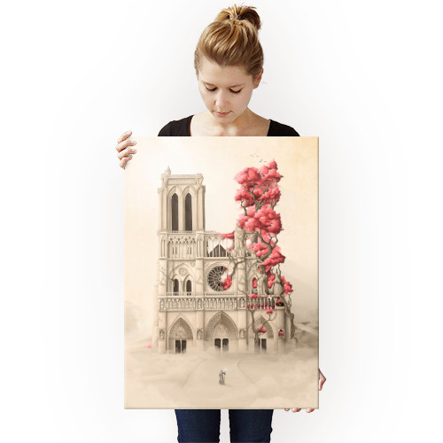 flowers notre dame architecture cathedral paris trees roots nature revenge forest illustration Architecture
