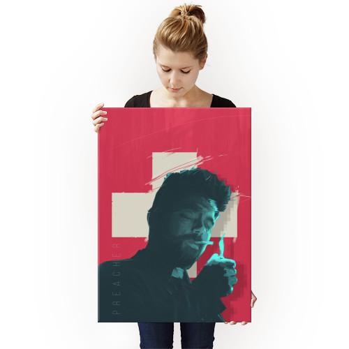 preacher series poster man glitch design grpahic illustration movie film tv blue red Movies & TV