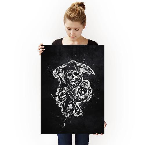 sons of anarchy biker bike gang motorcycle patch california jax tv show black white splat splatter grim reaper logo emblem symbol skull Movies & TV