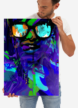 neon bright burning colorful face sunglass shades abstract pop surreal women
