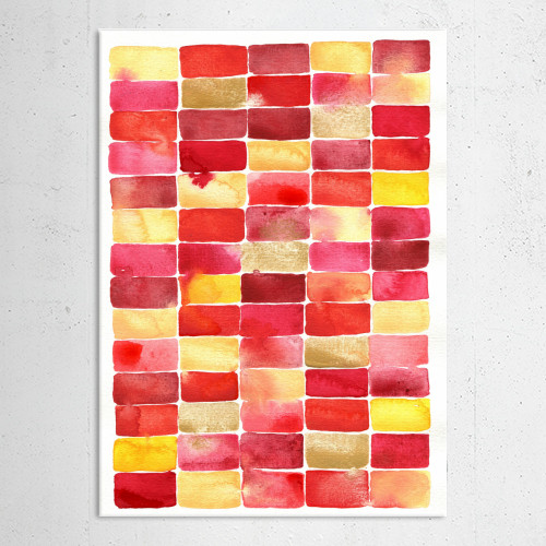 watercolor watercolour abstract painting happy red pink yellow watery geometric art design squirrell Abstract