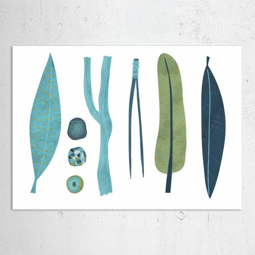 sticks stones feathers leaves nature rocks illustration muted blue green natural art design finds Illustration