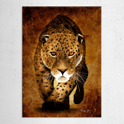 leopard tiger cater sand yellow sepia africa sun rough wild digital paint painting roma Animals