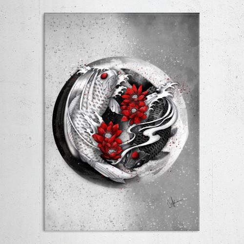 yinyang koi black white red Illustration