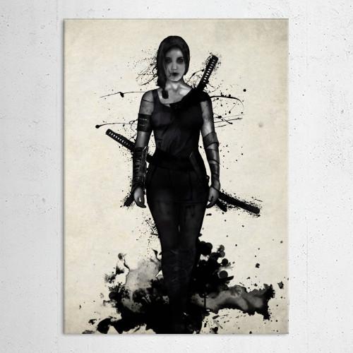 female ninja samurai warrior girl power powerful sword katana japan spatter watercolor Illustration
