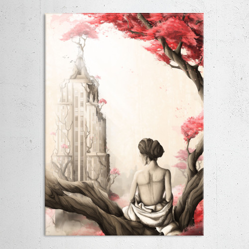nature forest woman red flowers apocalypse postapocalyptic city skyline tree roots buildings Illustration