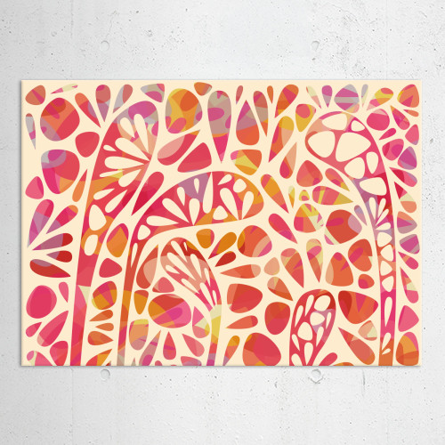 joy abstract shapes organic bright pink yellow red layered deep decorative happy Abstract