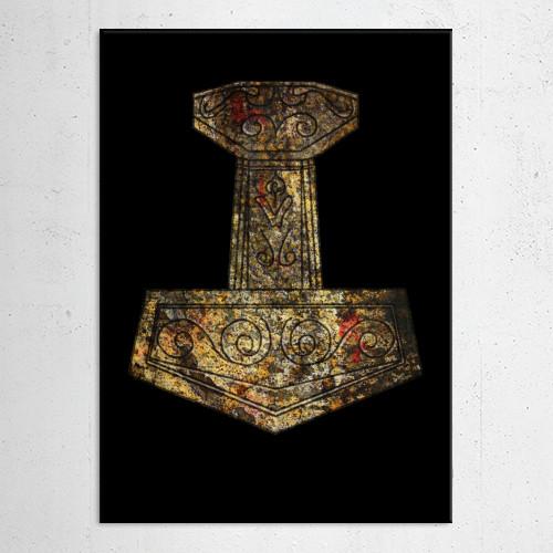 mjolnir mjollnir thor hammer axe norse nordic gods mythology myth weapon odin ancient Illustration