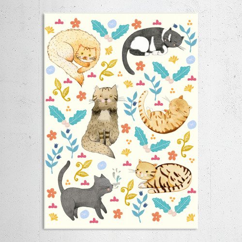 cats animal cute sweet flowers leaf blossom colourful pattern Animals