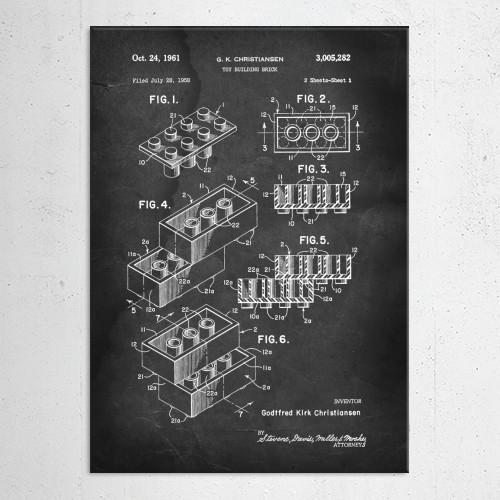 patent lego building block christiansen vintage Illustration