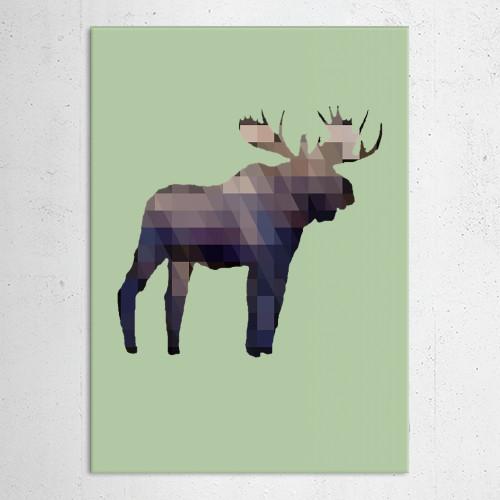 moose deer elk animal wildlife outdoors geometric squares triangles geometrical Animals