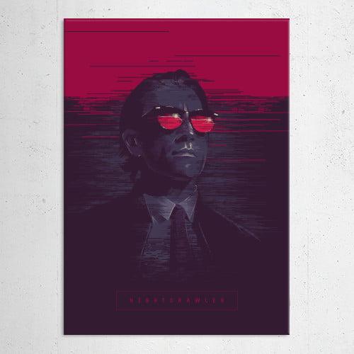 nightcrawler movie film jake gillenhal blue red pink magenta poster alternative illustration man thriller Movies & TV