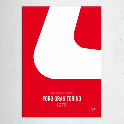 minimal minimalism minimalist famous car striping colors movie graphic design chungkong starsky hutch ford gran torino 1975 striped tomato Movies & TV