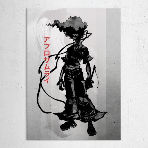 afro samuari ninja sword number 1 headband foot kill killer robot father japanese japan ink inking smoking cool voice black white red crimson swords child memories hair strong anime manga watercolour 90s cartoon western Anime & Manga