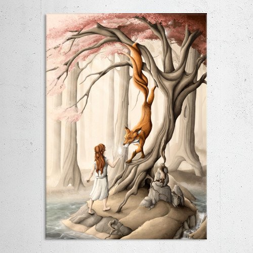 nature forest red fox tree lake redhead Illustration